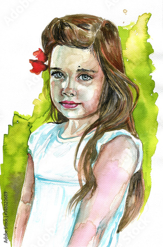 Foto op Canvas Schilderkunstige Inspiratie Watercolor portrait of a girl