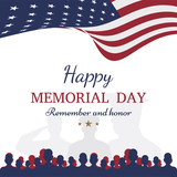 Happy memorial day. Greeting card with flag and soldier on background. National American holiday event. - 148031201