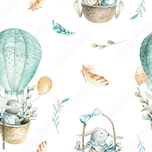 Cute baby rabbit animal seamless pattern, forest illustration for children clothing. Woodland watercolor Hand drawn boho image for cases design, nursery posters - 148043479