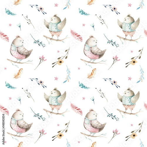 Cute baby bird animal seamless pattern, forest illustration for children clothing. Woodland watercolor Hand drawn boho chiken image for cases design, nursery poster - 148043854