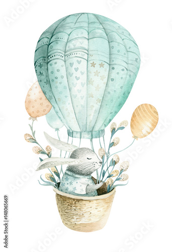Cute baby rabbit animal, forest illustration for children clothing. Woodland watercolor Hand drawn boho image for design, nursery posters - 148065669