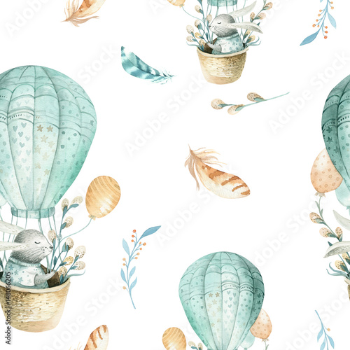 Cute baby rabbit animal seamless pattern, forest illustration for children clothing. Woodland watercolor Hand drawn boho image for cases design, nursery posters - 148066205