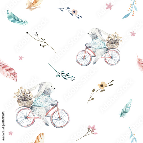 Cute baby rabbit animal seamless pattern, forest illustration for children clothing. Woodland watercolor Hand drawn boho image for cases design, nursery posters - 148071053