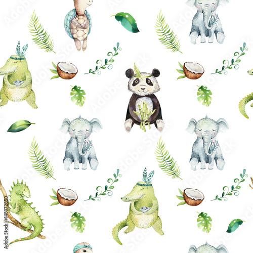 Baby animals nursery isolated seamless pattern. Watercolor boho tropical drawing, child tropical drawing, panda, cute crocodile, tropic elephant, green iguana and turtle. - 148072850