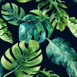 Seamless watercolor pattern of tropical leaves, dense jungle. Ha - 148079406