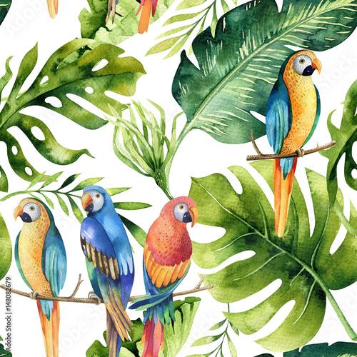 Seamless watercolor pattern of tropical leaves, dense jungle. Ha - 148082679