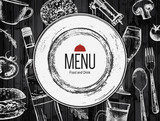 Restaurant menu design. Vector menu brochure template for cafe, coffee house, restaurant, bar. Food and drinks logotype symbol design. With a sketch pictures - 148127409