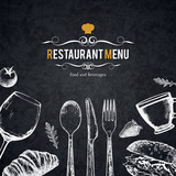 Fototapety Restaurant menu design. Vector menu brochure template for cafe, coffee house, restaurant, bar. Food and drinks logotype symbol design. With a sketch pictures