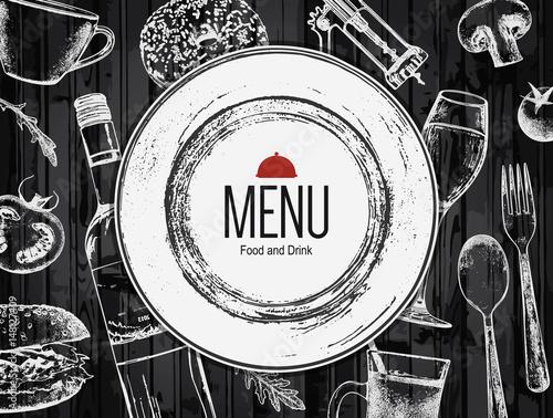 Fototapeta Restaurant menu design. Vector menu brochure template for cafe, coffee house, restaurant, bar. Food and drinks logotype symbol design. With a sketch pictures