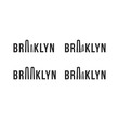 Logo of the Brooklyn bridge. Silhouette of the bridge in the font. Flat vector symbol