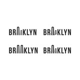 Logo of the Brooklyn bridge. Silhouette of the bridge in the font. Flat vector symbol - 148129269