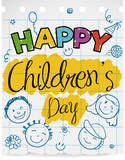 Notebook Paper with Doodles to Celebrate Children's Day, Vector Illustration