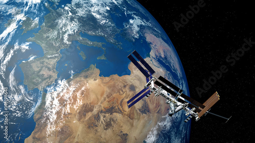 Fotobehang Nasa Extremely detailed and realistic high resolution 3D image of ISS - International Space Station orbiting Earth. Shot from space. Elements of this image are furnished by Nasa.