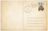 Old style postcard with postage stamp 3d illustration - 148289430