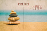 Vintage summer postcard. Relax and spa on the beach