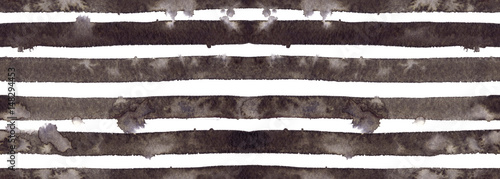 Seamless pattern with horizontal black stripes hand painted in watercolor on white isolated background - 148294453