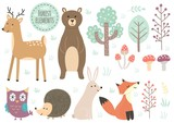 Vector set of cute forest elements - animals and trees