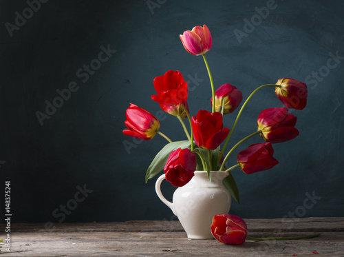 Still life with yellow tulips © kishivan