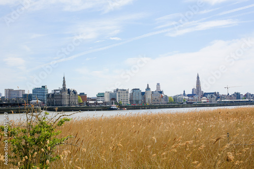 Fotobehang Antwerpen View on Antwerp by the River Scheldt in Flanders, Belgium