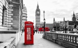 Fototapeta Londyn - London Telephone Booth and Big Ben © jotily