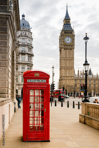 Foto op Canvas Londen London Telephone Booth and Big Ben