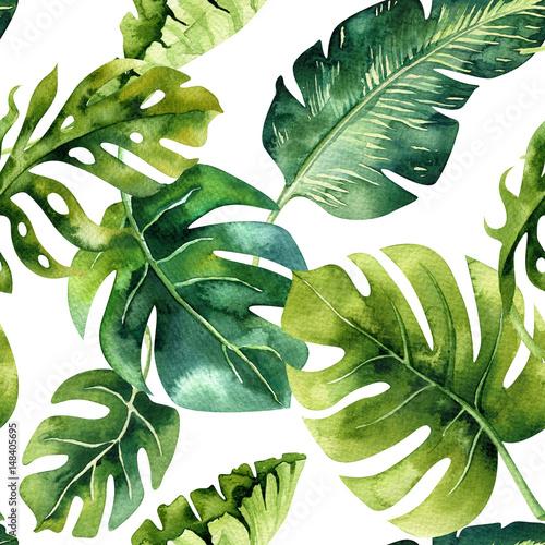Seamless watercolor pattern of tropical leaves, dense jungle. Ha - 148405695