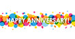 """HAPPY ANNIVERSARY"" Vector Card with Colourful Circles Background"