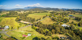 Australian countryside - meadows, pastures, and hills aerial panorama. Myrtleford, Victoria, Australia