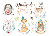Cute baby fox, deer animal nursery rabbit and bear isolated illustration for children. Watercolor boho forestdrawing, watercolour, hedgehog image Perfect for nursery posters - 148420838