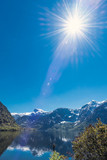 Stunning sun over lake near Hallstatt