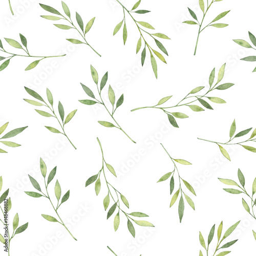 Hand drawn watercolor illustration. Botanical background with green leaves, branches and herbs. Floral Design elements. Perfect for wedding invitations, greeting cards, textiles, prints, posters - 148468882