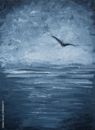 Original oil painting - Seagull over the sea - Impressionism - Modern Art © shvets_tetiana