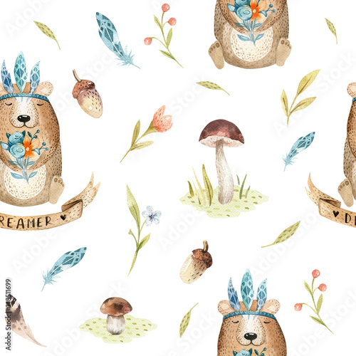 Cute baby bear animal seamless pattern, nursery isolated  illustration for children clothing. Watercolor Hand drawn boho image Perfect for phone cases design, - 148511699
