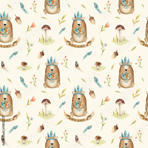 Cute baby bear animal seamless pattern, nursery isolated  illustration for children clothing. Watercolor Hand drawn boho image Perfect for phone cases design, - 148512077