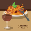 delicious food spaghetti meatballs and glass cup wine vector illustration - 148517698