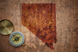map of nevada state on a old vintage crack paper