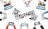 Fototapeta Top view of businesspeople sitting at table and using gadgets