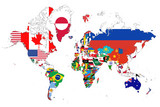 3D Map of the World with National Flags on White Background 3D Illustration