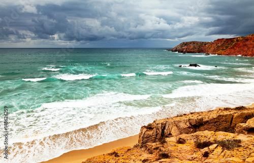Atlantic Ocean, Beach Amado, Algarve, Portugal (Sagres; Praia do Amado) Poster