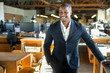 African american entrepreneur business owner ceo portrait at the creative design office