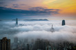 Misty City and Harbor at Sunrise - Victoria Harbor of Hong Kong