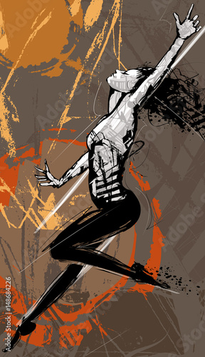 Tuinposter Art Studio Woman stylish dancer