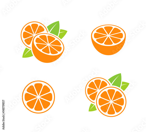 Orange fruit. Icon set. Cut oranges with leaves on white background - 148719857