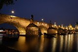 Prague Charles Bridge Night Time