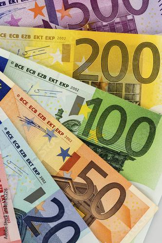 Leinwanddruck Bild Viele verschiedene Euro-Geldscheine