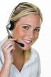 Frau mit Headset im Kundenservice - 148746405