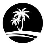Sommer - Icon mit Palmen (in Schwarz) - 148750078