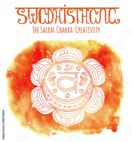Hand drawn white sacral chakra on watercolor background with lettering Poster