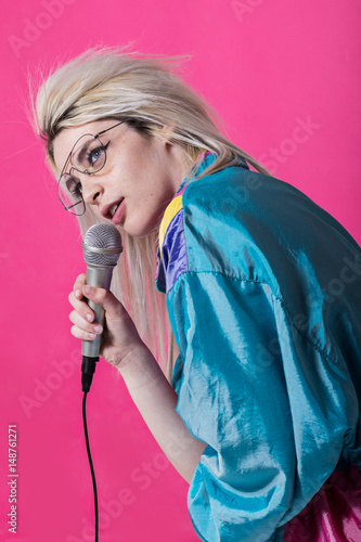 Poster trendy young girl singing