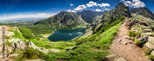 Panorama of Czarny Staw Gasienicowy in Tatra Mountains, Poland, Europe
